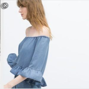 Zara denim peplum off the shoulder top